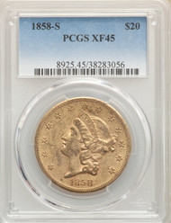 1858-S $20 Gold Liberty PCGS XF45 - 296969009