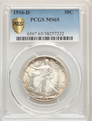 1916-D 50c Walking Liberty Half Dollar PCGS MS65 - 512559046