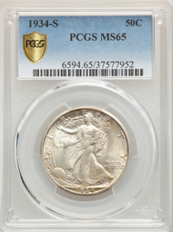 1934-S 50c Walking Liberty Half Dollar PCGS MS65 - 741284082