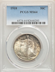 1918 50c Walking Liberty Half Dollar PCGS MS64 - 741571007