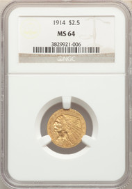 1914 $2.5 Gold Indian NGC MS64 - 741960006