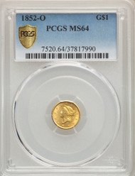 1852-O G$1 Gold Liberty Head PCGS MS64