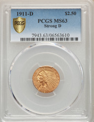 1911-D  $2.5 Gold Indian PCGS MS63 Strong D