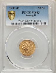 1911-D  $2.5 Gold Indian PCGS MS63 Strong D - 739984009