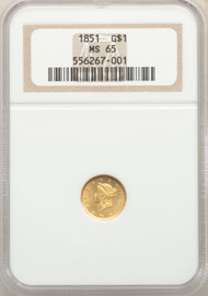 1851 G$1 Gold Liberty Head NGC MS65 - 741740005