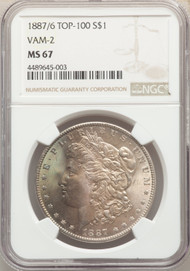 1887/6 Top 100 S$1 Morgan Dollar NGC MS67 VAM-2
