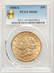 1860-S $20 Gold Liberty PCGS MS60 - 512568018