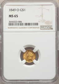 1849-O G$1 Gold Liberty Head NGC MS65