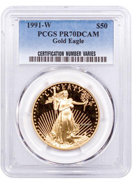 1991 $50 Proof Gold Eagle PCGS PR70 DCAM