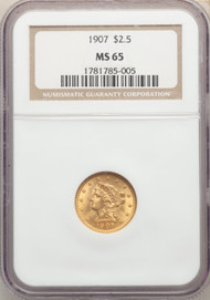 1907 $2.5 Gold Liberty NGC MS65 - 742313170