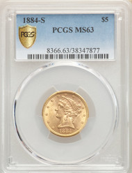 1884-S $5 Gold Liberty PCGS MS63