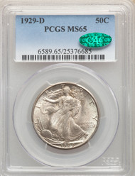 1929-D 50c Walking Liberty Half Dollar PCGS MS65 CAC