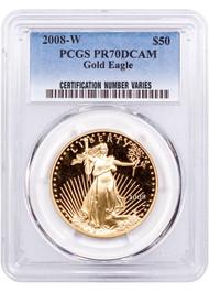 2008 $50 Proof Gold Eagle PCGS PR70 DCAM