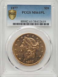1877 $20 Gold Liberty PCGS MS61PL - 298564046