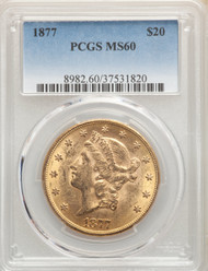 1877 $20 Gold Liberty PCGS MS60 - 741115176