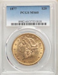 1877 $20 Gold Liberty PCGS MS60 - 741115183
