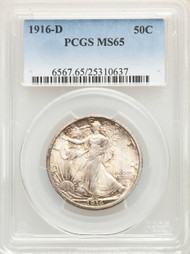 1916-D 50c Walking Liberty Half Dollar PCGS MS65 - 298501029