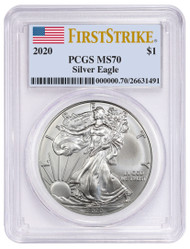 2020 Silver Eagle PCGS MS70 First Strike Flag Label