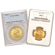 $10 Gold Liberty PCGS/NGC MS63 - Mixed Dates