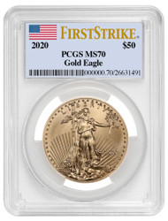 2020 $50 Gold Eagle PCGS MS70 First Strike Flag Label
