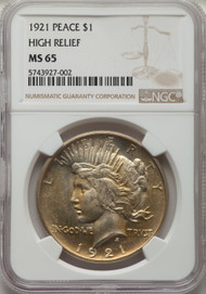 1921 S$1 Peace Dollar NGC MS65 High Relief - 742616004