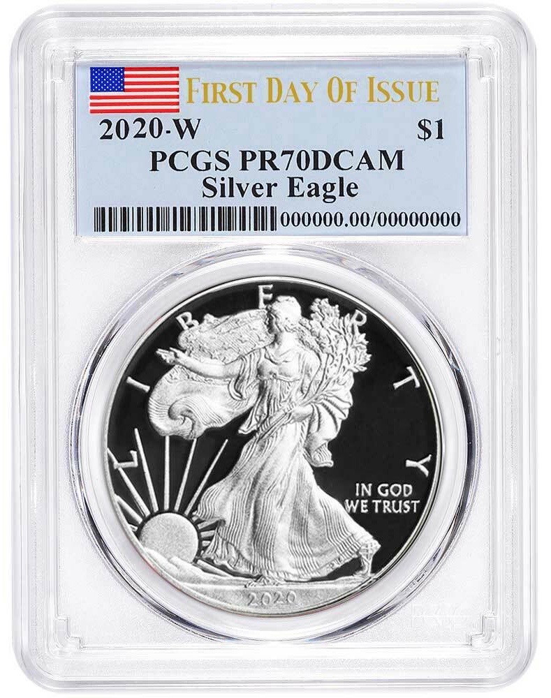2020 $1 American Silver Eagle PCGS MS70 Made in USA Label