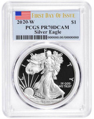 2020-W Proof Silver Eagle PCGS PR70 DCAM First Day of Issue