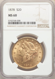 1878 $20 Gold Liberty NGC MS60
