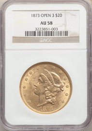 1873 $20 Gold Liberty NGC AU58 Open 3 - 742365022