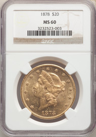 1878 $20 Gold Liberty NGC MS60 - 742365025