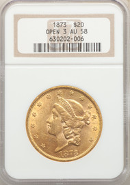 1873 $20 Gold Liberty NGC AU58 Open 3 - 742365031