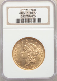 1873 $20 Gold Liberty NGC AU58 Open 3 - 742365033