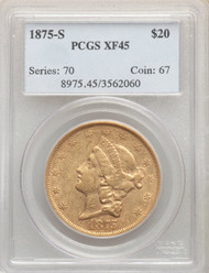 1875-S $20 Gold Liberty PCGS XF45