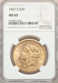 1857-S $20 Gold Liberty NGC MS65