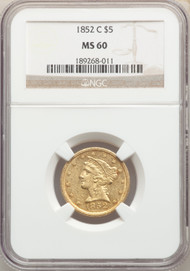 1852-C $5 Gold Liberty NGC MS60