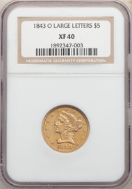 1843-O $5 Gold Liberty NGC XF40 Large Letters - 742734164