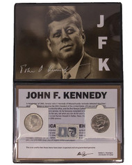1964 Kennedy Half Dollar Album - 2 Coins and a Stamp