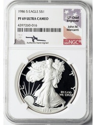 1986-S Proof Silver Eagle NGC PF69 Mercanti Signed