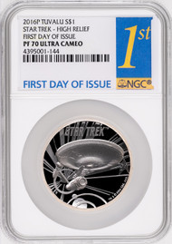 2016-P Tuvalu Star Trek Enterprise Ship 1 oz High Relief NGC PF70UC - First Day of Issue