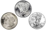 Morgan, Peace & Silver Eagle Dollar Brilliant Uncirculated- 3pc Set (BU)