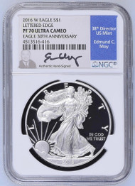 2016-W Proof Silver Eagle NGC PF70 UCAM Edmund Moy Signed