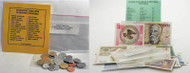 25 Coins and Banknotes From 25 Different Countries of the Globe