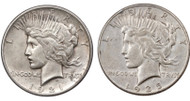 First & Last Year of Issue Peace Dollar Set Circulated (1921 & 1935)