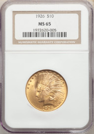 1926 $10 Gold Indian NGC MS65