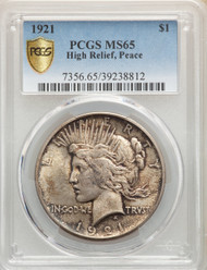 1921 S$1 Peace Dollar PCGS MS65 High Relief - 298541016