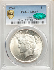 1923 S$1 Peace Dollar PCGS MS67 CAC - 298691175