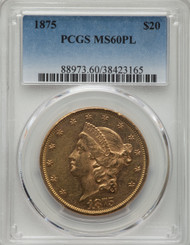 1875 $20 Gold Liberty PCGS MS60PL