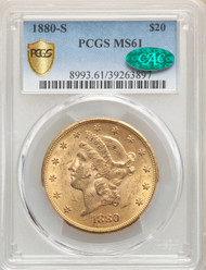 1880-S $20 Gold Liberty PCGS MS61 CAC