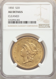 1850 $20 Gold Liberty NGC AU Details Cleaned