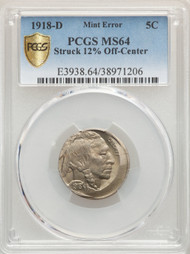 1918-D 5c Buffalo Nickel PCGS MS64 Struck 12% Off-Center